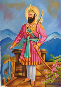 Guru Gobind Singh Sikh Punjab Art Handmade  HD Print Ethnic Art Oil Painting on Canvas Buddhism Decor Multi Custom Sizes  Frame P163