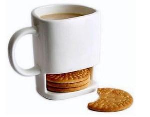 Tasse en céramique Thé de café blanc Biscuits Milil Dessert Coupe Thé Coupe latérale Poignées de biscuits Porte-poches pour la maison Office 250ml