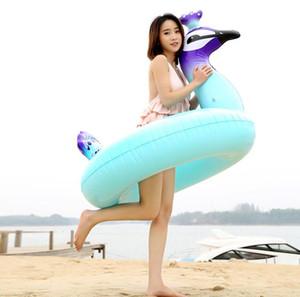 120cm Adlut gonflable piscine matelas de natation flottant animal flotteur radeau enfants géant flotte eau jouet pvc salon de paon piscine bassin radeau rangée