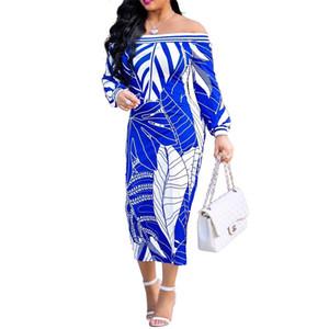 Kadın Elbise Seksi Straplez Midi elbise Muz yaprağı Baskı Uzun elbise Bayanlar Slash boyun uzun kollu bodycon parti elbiseler