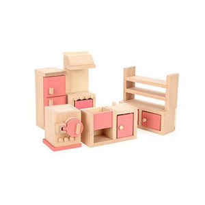 Wooden Dollhouse Furniture Model Playset Pink Miniature Kitchen Early Educational Toy for Kid Child Baby Play