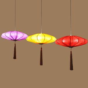 Borlas de estilo chino Comedor Luces Colgantes de Tela Sólido Linterna Restaurante Colgante Accesorios de Iluminación Sala de Estudio Lámpara