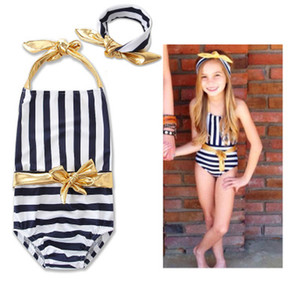 2018 Summer Children's Swimwear Golden Bow con cordones halter sujetador Black Striped traje de baño de una pieza con Golden Headband Children Beach Swimwear