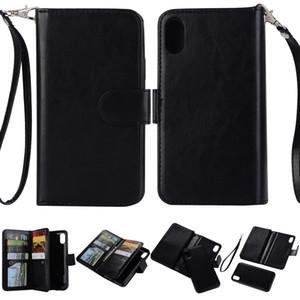 Custodia a portafoglio in pelle con nove slot per schede Custodia a clip rimovibile per iPhone X XS XR 8 7 6 Plus S8 Plus Nota 8