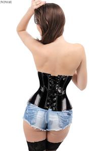 코르셋 및 bustiers 폐기물 트레이너 섹시 블랙 Steampunk PVC 비닐 고딕 블랙 Burlesque Underbust 크기 S M L XL XXL Corpete