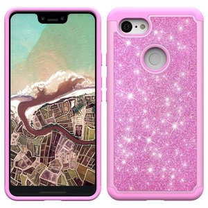 Bling Glitter Shockproof Cell Phone Case Cover For Iphone XS XR XS MAX LG Q7 plus Alcatel 7 TPU+Skin case Oppbag