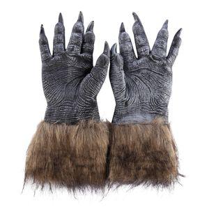 2018 Classic Halloween Werewolf Wolf Paws Cosplay Garras Scary Gloves Creepy Horror Devil Costume - Negro