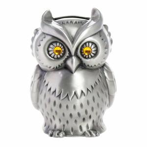 Vintage Metal Owl Piggy Bank Animal Zinc Alloy Coin Bank Cafe Bar Shop Crafts Home Decoration Money Saving Box Pewter Finish