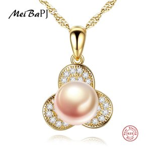 [MeiBaPJ]Real Freshwater Pearl Simple Personality Petal Pendant Necklace 925 Solid Silver Pendant Fine Jewelry for Women