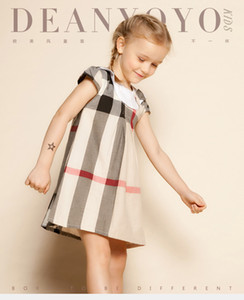2016 Yeni 2-6 T yaz kız giyim moda ekose çocuklar kızlar için elbiseler toplama yaka İngiltere stil toddler kızlar elbiseler