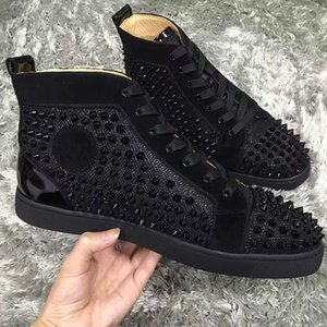 Paris Design Spikes High Top 스니커즈 신발 여성, 남성 캐주얼 레드 리벳 파티 드레스 캐주얼 워킹 야외 레이스 업 트레이너