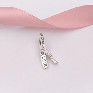 Otantik 925 Gümüş Boncuk Mezuniyet Kaydırma kolye Charm Charms Avrupa Pandora Stil Takı Bilezikler Kolye 797396 uyar