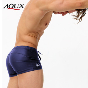 AQUX Man Swimwear Men's Beach Pants Hot Spring Solid Color Swimming Boxer Swimming Trunks