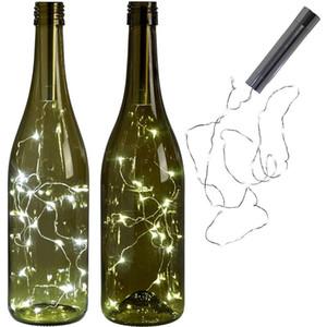 energía de la batería caliente luces blancas LED de la forma de la botella del corcho cadena luces de Bistro Vino de la botella de San Valentín estrellada barra del grupo