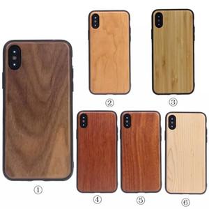 Nuovo TPU Arc Edge Custodia in legno reale Custodia in legno Custodia protettiva di lusso retrò per iPhone X 8 7 6 6S Plus