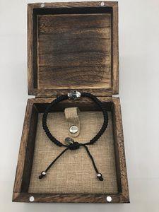 Bettelarmband geflochtene schwarze Wachsschnur mit Edelstahl-Totenkopfarmband für Damen oder Herren Modeschmuck Demon818