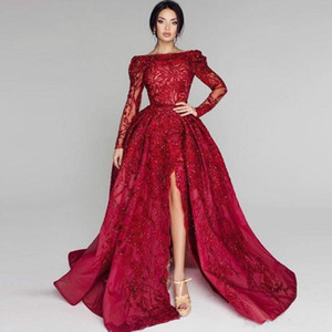 Tony Chaaya 2018 Red Sequins Prom Dresses Long Sleeves Bateau Neck Side Split Formal Dress Evening Wear Sweep Train Illusion Party Dress