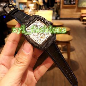 El reloj de los hombres de lujo más vendido del mundo reloj de diamantes caso de correa de cuero resistente al agua Reloj mecánico automático de los hombres