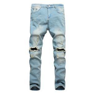 2018 pantalones rotos para hombres patchwork ahueca hacia fuera impresa recortada pantalones Yong hombre vaqueros Jeans hombre hombres ropa 2018