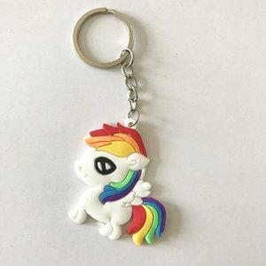 Custom Top Quality Soft PVC Rainbow Horse Keychains White Horse Keychain for Children