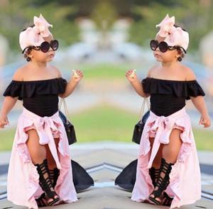 Kızlar Giyim Setleri Yaz 4 adet Çocuklar Bebek Kız Kapalı Omuz Üst T-shirt şort Etek Bandı Kıyafetler Set