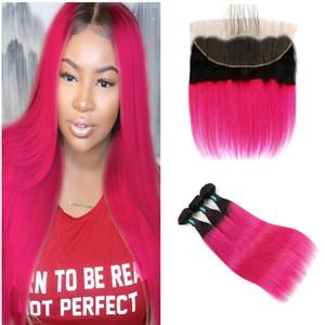 Два тона 1b розово-красный прямые пучки волос с кружевом фронтальной закрытия темные корни ломбер пучки волос с 13x4 кружева фронтальной закрытия