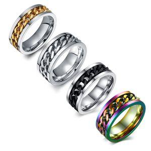 Mens anéis giratório anel de aço inoxidável fidget anel preto / prata / prata antigo / multicolor tamanho 6-15