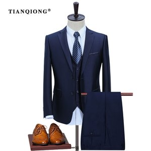 TIAN QIONG New Men Suits Slim Custom Fit Tuxedo  Fashion Bridegroon Business Dress Wedding Suit Blazer(Jackets+Pants+Vest)