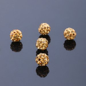 10mm Shambala Pave Disco Ball Clay Beads Half Drilled Polymer Clay Rhinestone Beads Round Charms Jewelry Making