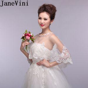 JaneVini Nueva Ivory cabo nupcial para el vestido de boda con cuentas Bolero encaje chaquetas de la boda Wraps para la novia Shrug Bolero verano accesorios