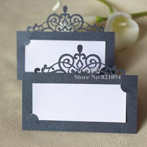 30 unids envío gratis venta Caliente corte láser Party Table Name Card Crown design Place RSVP Cards Wedding Invitation Table holder tarjetas