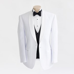 White Shawl Lapel Men Trajes Trajes de Boda Novio Novio Desgaste Negocio Por encargo Slim Fit Formal Esmoquin Best Man Blazer Prom 3Pieces