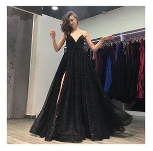 backless 블랙 장식 웨딩 드레스 2018 빈티지 코트 스타일 깊은 V 넥 프릴 Taffeta 층 길이 섹시 분할 측면 신부 가운