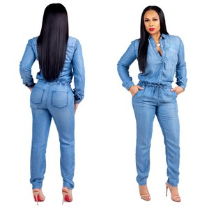 Femmes Mode Longue Jeans Combinaisons Salopettes Pour Femme Automne À Manches Longues Bandage Slim Denim Une Pièce Pantalon Plus La Taille