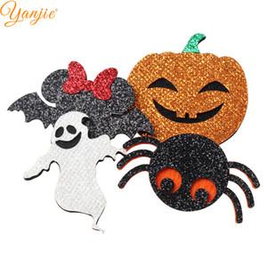 12pcs / Lot Diy Cadılar Bayramı Kafa Glitter Kafatası Bat Hayalet Kabak Pedler Saç Aksesuarları İçin Kız Çocuk Saç Bow Şapkalar Hediye Keçe