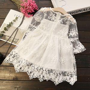 2018 New Fashion Summer Girl Dress Lovely Kids Abbigliamento bianco rosa Tutu pizzo cotone stampa vestiti Neonate Abiti Abbigliamento per bambini