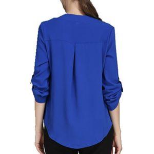 VogorSean Primavera Outono Mulheres Camisa Blusa Tops Casual Chiffon Blusas Feminino Com Decote Em V Escritório Lady Para O Trabalho Das Mulheres 9/10 Luva Nova