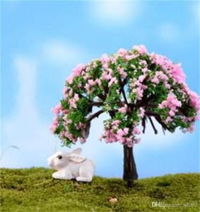 Adornos de jardinería de simulación de bricolaje Miniaturas de jardín de hadas Mini cerezo Decoración de parque de sauce Plantas suculentas Maceta Micro 1 2jq ii