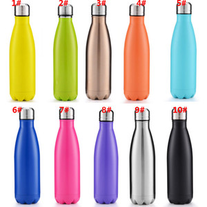 10 Colors 500ml Vacuum Cup Coke Mug Stainless Steel Bottles Insulation Cup Thermoses Fashion Movement Veined Water Bottles HH7-807