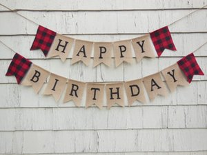 CUSTOM WOODLAND Lumberjack primo compleanno tela Banner striscioni baby shower nursery room party partito Buntings ghirlande foto Prop