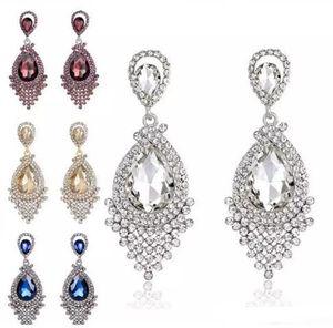 Diamond Crystal Tassel Earrings Studs Glass Tassel Drop Dangle Earrings Joyería de la boda de regalo para las mujeres