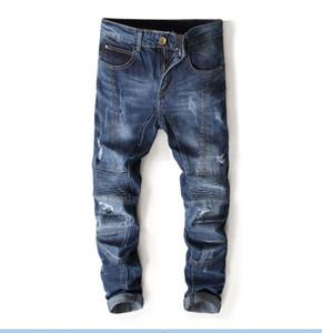 Высочайшее качество мужские джинсы с плиссированной строчкой Новые дизайнерские мужские джинсы Известный бренд Slim Fit Мужские джинсовые брюки с принтом 7113