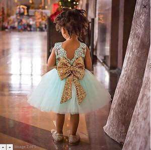 4 colori ragazze indietro paillettes grande fiocco abito di pizzo senza maniche neonate Abiti eleganti ragazza abiti da festa bambini abiti estivi abbigliamento per bambini