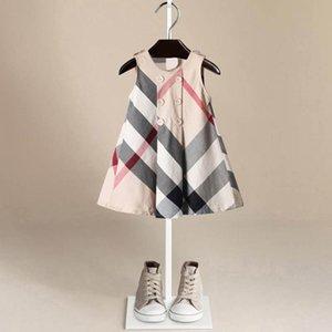 Filles Fashion Designer Robes Filles Robe sans manches Vente chaude 5 couleurs de haute qualité coton bébé Enfants Big Plaid Robes