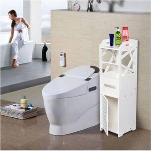 Großhandel 3-Tier Badezimmer Schrank mit 2 Türen 23 23 80CM Weiß Storage Holders Racks Home Storage Organisation Badezimmer Regal