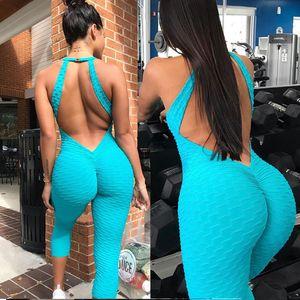 Ins Hot Honeycomb 고탄력 요가 스포츠 점프 슈트 여성 2018 여름 섹시한 Backless Push Fitness Jumpsuit Streetwear Running Overalls