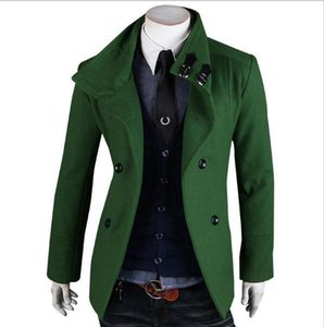 New Fashion Double Breasted Men Trench Coats Mens Long Wool Coat 8928