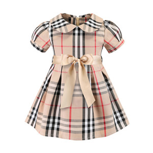 Mädchen kleiden 2019 INS Sommer neue Arten europäische und amerikanische Artmädchen Revers-Kurzschlusshülse Qualitätsbaumwollkleines Plaidkleid