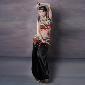 Professional Dancewear Tribal Belly Dance Costumes Set 3pcs Bra Belt Pants Gypsy Outfit Women Belly Dance Pants Costumes