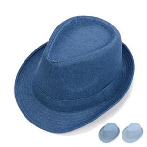 الكلاسيكية الدنيم الجاز فيدورا قبعة للرجال steampunk الرسمية شهم الجاز فيدورا قبعات outdoor بخيل بريم كاوبوي قبعات